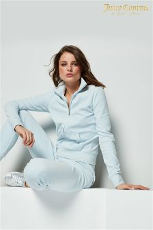 Juicy Couture Blue Velour Fitted Track Jacket