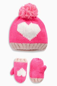 Pink Heart Hat & Mitts set (Younger Girls)