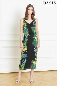 Oasis Black Tropical Midi Dress