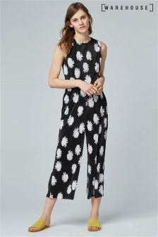 Warehouse Multi Flower Stamp Overlay Plisse Jumpsuit
