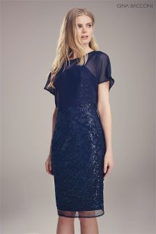Gina Bacconi Navy Sequin Circle Net Dress And Chiffon Top