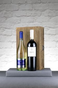 2 Bottles Of Multi Chianti And Pinot Grigio In Hinged Wood Box