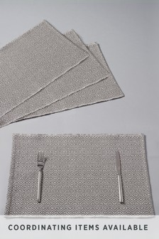 4 Pack Grey Geo Fabric Placemats