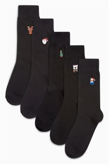 Christmas Embroidered Socks Five Pack