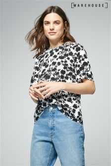 Warehouse Black Brushed Floral T-Shirt