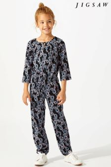Jigsaw Blue Mini Winter Floral Jumpsuit
