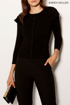 Karen Millen Black Victoriana Knit Collection Cardigan
