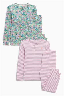 Floral And Stripe Snuggle Pyjamas Two Pack (3-16yrs)