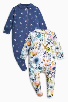 Floral Collar Detail Sleepsuits Two Pack (0mths-2yrs)
