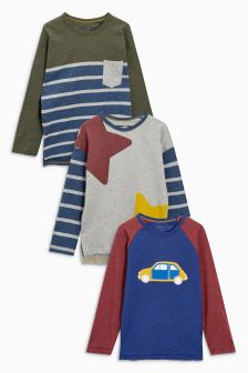 Crochet Car, Stripe And Star Long Sleeve T-Shirts Three Pack (3mths-6yrs)