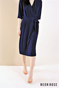 Neon Rose Navy Wrap Tie Midi Dress