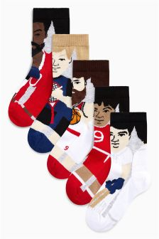 Sports Character Socks Five Pack (Older Boys)