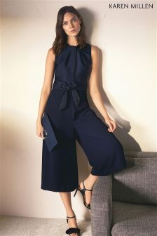 Karen Millen Navy Contrast Piping Cropped Jumpsuit