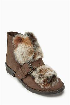 Faux Fur Buckle Boots (Older Girls)