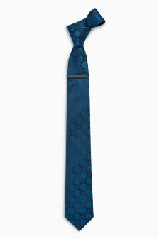 Circle Pattern Tie With Tie Clip