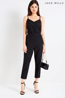Jack Wills Black Lace Cami Jumpsuit
