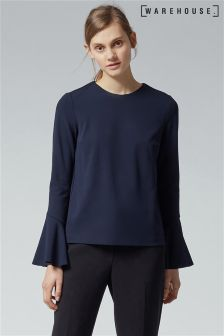 Warehouse Navy Flute Sleeve Top