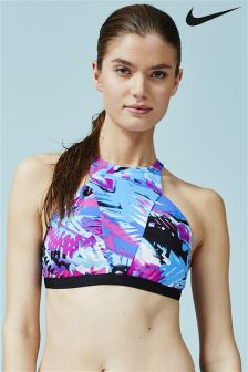 Nike Printed High Neck Bikini Top