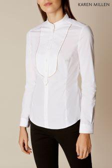 Karen Millen White Bib Front Shirt