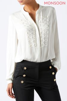 Monsoon White Marita Military Shirt