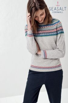 Seasalt Grey Vantage Point Splash Print Endurance Jumper