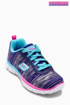 Skechers® Girls Blue/Multi Glittered Heatered Jersey Lace Up