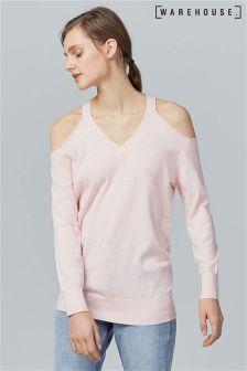 Warehouse Pink Cold Shoulder V-Neck Jumper