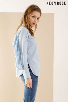 Neon Rose Blue Ruffle Back Shirt