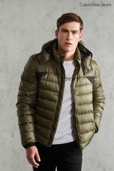 Calvin Klein Khaki Padded Jacket With A Hood