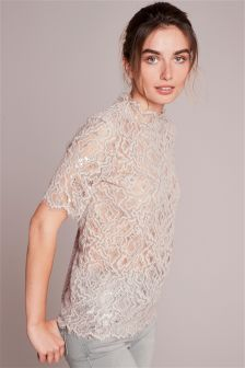 Metallic Lace Tee