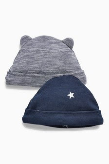 Stripe/Star Print Beanie Hats Two Pack (0-18mths)
