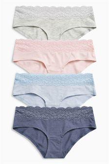 Lace Trim Shorts Four Pack