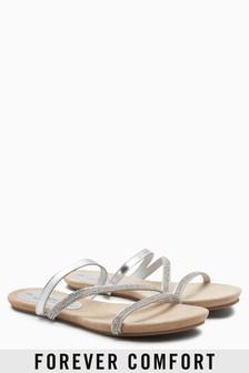 Forever Comfort Asymmetric Diamanté Sandals