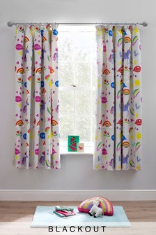Rainbow And Unicorn Blackout Pencil Pleat Curtains