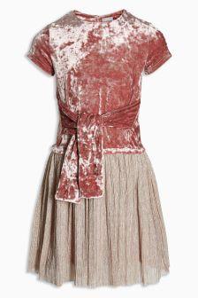 Velvet Knot Front Dress (3-16yrs)