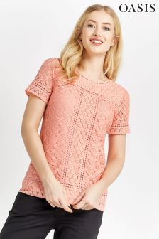 Oasis Coral Isla Lace Top