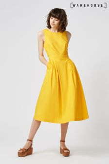 Warehouse Yellow Open Back Cotton Dress