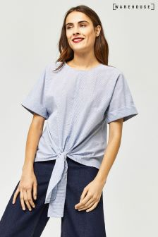 Warehouse Blue Stripe Tie Front Cotton Top