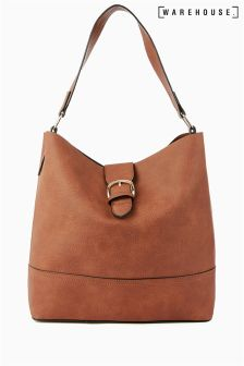 Warehouse Tan Tab Buckle Tote Bag