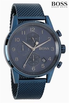 Hugo Boss Black Navigator Navy IP Mesh Watch