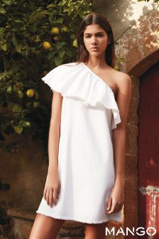 Mango White Denim One Shoulder Ruffle Dress