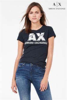 Armani Exchange Navy Logo Tee