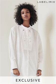 Mix/Anne Bernecker White Oversize Embellished Shirt