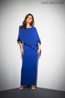 Gina Bacconi Blue Tiffany Sequin Trim Cape Maxi Dress