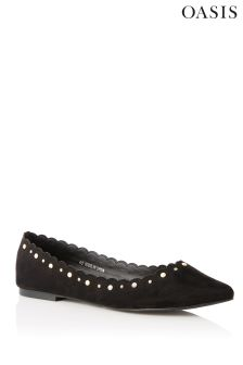Oasis Black Pearl Stud Scallop Flat Shoes