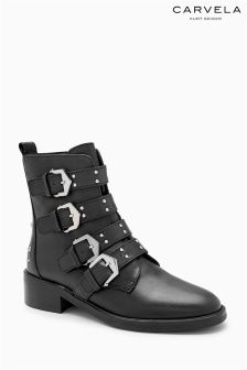 Carvela Black Scant Stud Strap Biker Boot