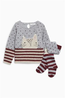 Cat Jumper And Tights Set (3mths-6yrs)