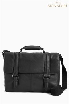 Signature Leather Two Strap Briefcase