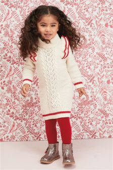 Ruffle Cable Jumper Dress And Tights Set (3mths-6yrs)
