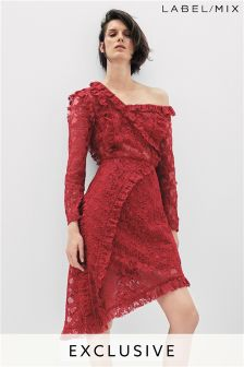 Mix/Whole 9 Yards Raw Edge Lace Evening Dress